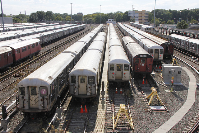 Picture of new york city subway yard line 7 - queens, new york. photo