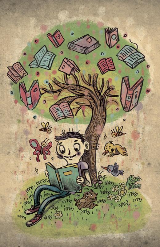 Rbol de libros ilustraci n para un poster de una - Lamparas para leer libros ...