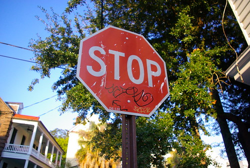 stop sign in neighborhood