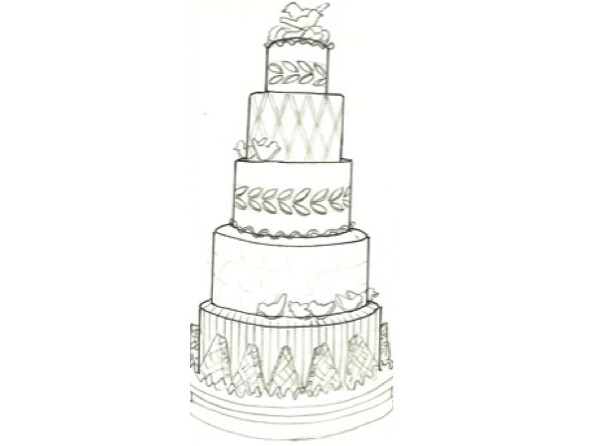 Something Borrowed Design Sketch This cake borrows from ...