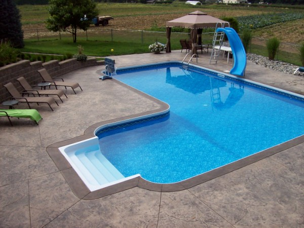 Vastec coping for vinyl liner pools pools built by for In ground pool coping ideas