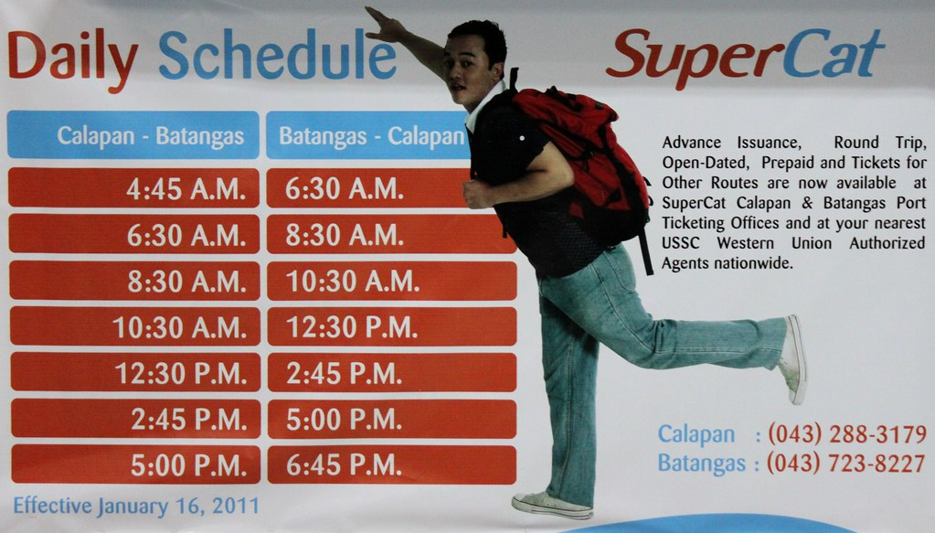 daily schedule of supercat in calapan