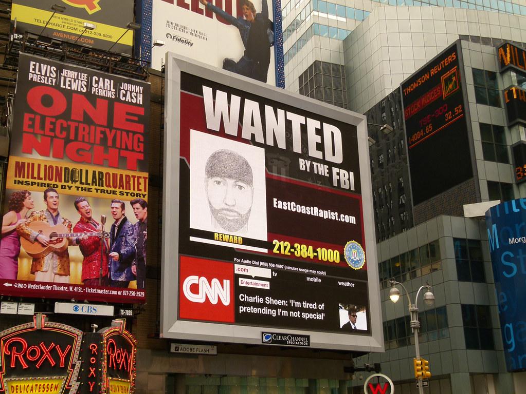 East Coast Rapist Times Square Billboard | The FBI, with ...