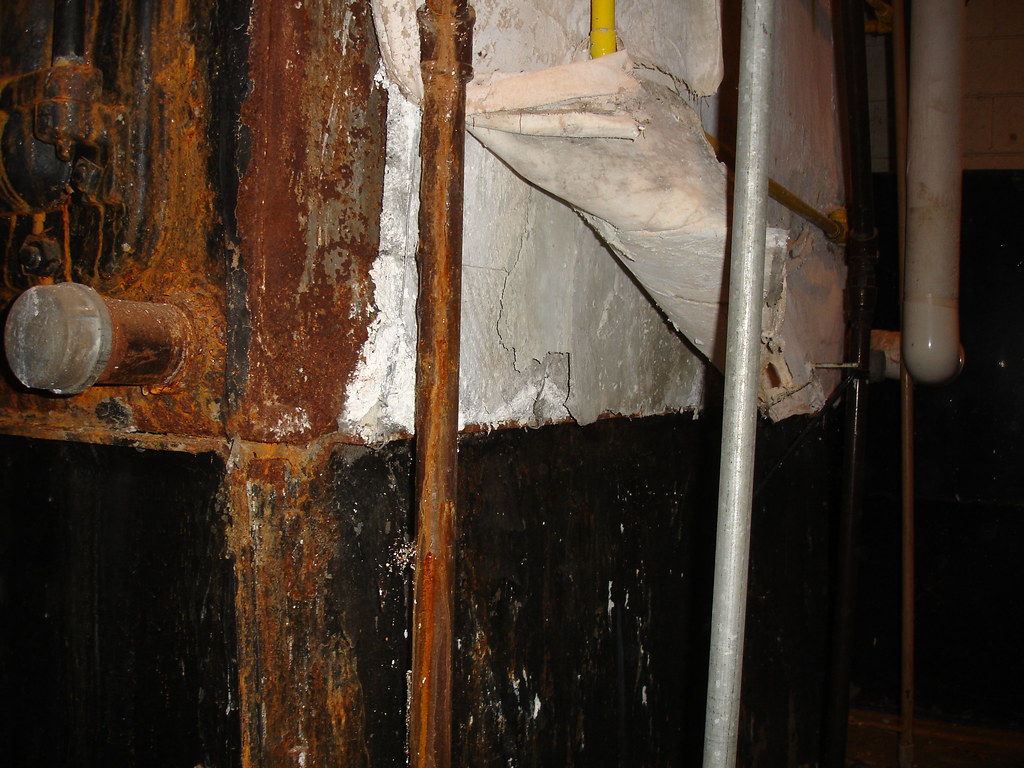 damaged asbestos magnesia block boiler insulation