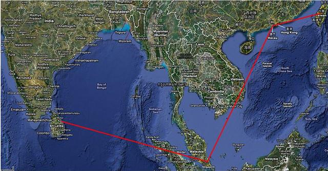斯里蘭卡飛行地圖