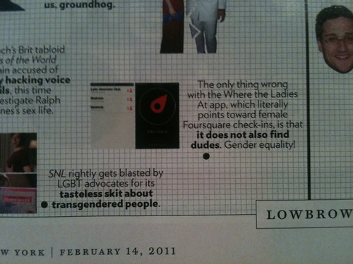 "Check it out - one of the apps built off the @foursquare API was included in NY Magazine's ""Approval Matrix?"" 