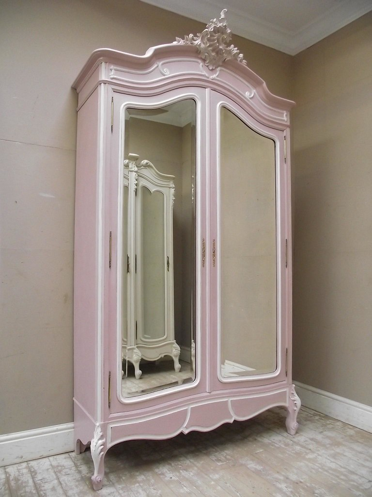 French Antique Rococo Armoire In Pink French Antique