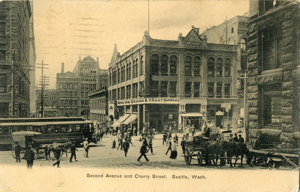 Second Ave And Cherry Street Seattle Circa 1905 Ahead