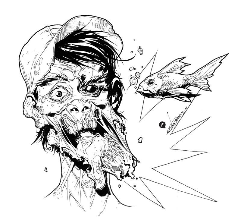 nude zombie girl drawing