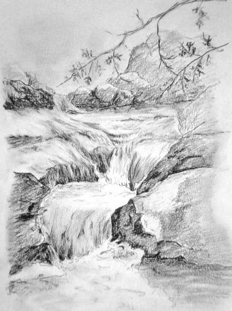 j19-waterfall-maine-7.5x9-pencil-sketch | Flickr - Photo ...