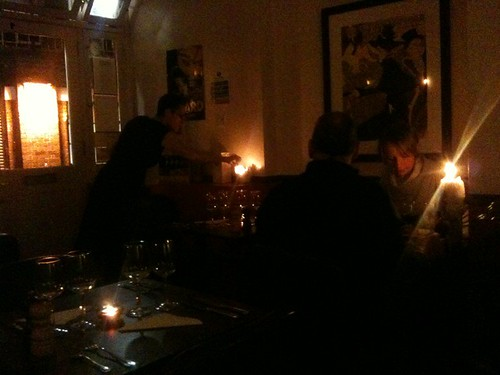 The dim-lit Passage Bistro, on a little lane in Faringdon, great tip from @candicepires | by benjilanyado