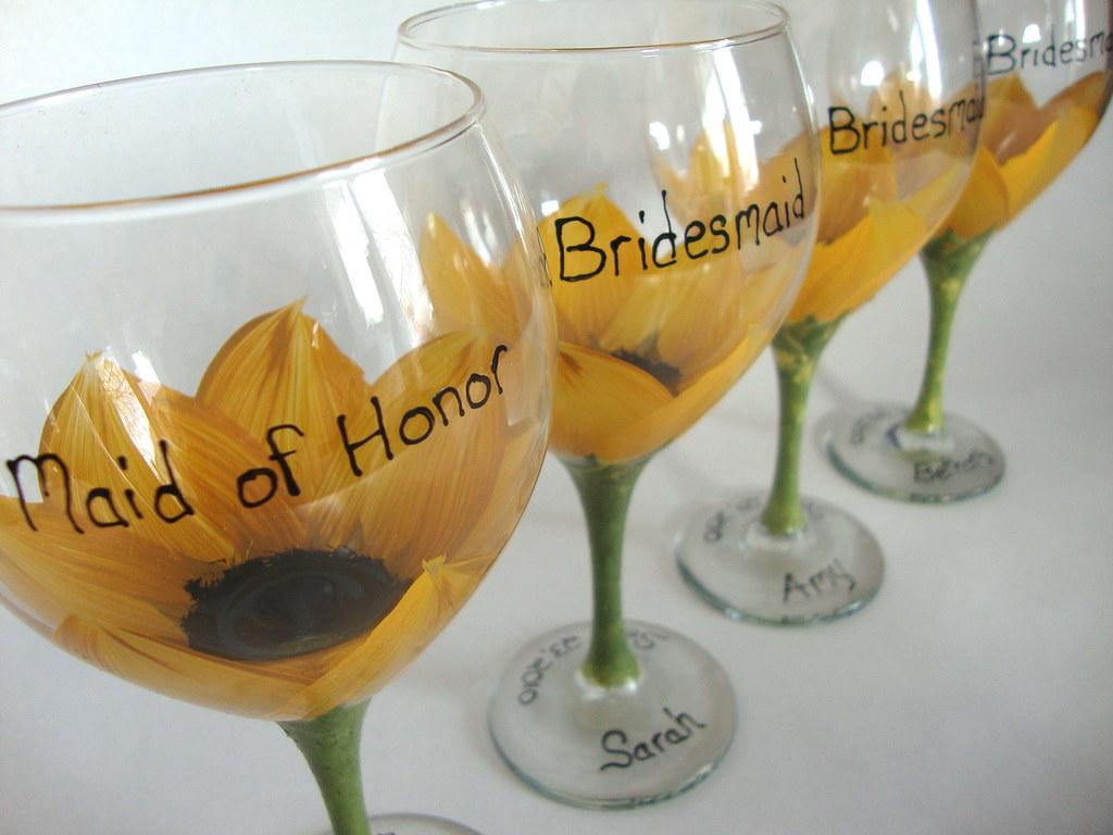 Bridesmaid sunflower wedding glasses | Hand painted wine ...