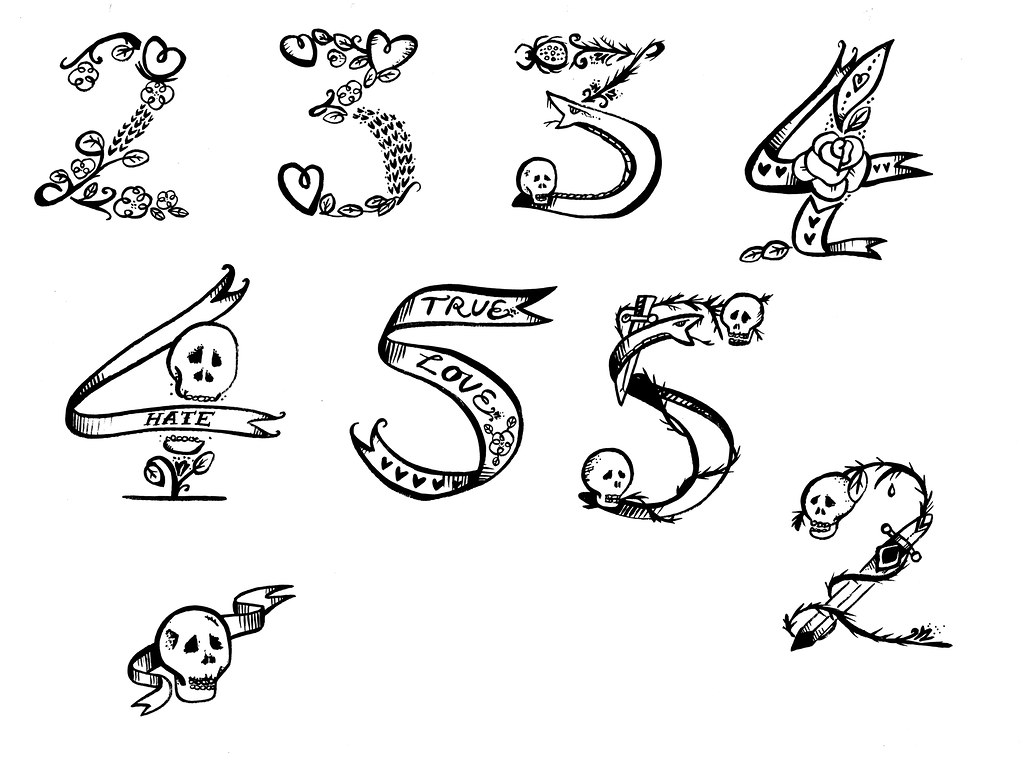 tattoo numbers love and hate project wetpaint design illustration flickr. Black Bedroom Furniture Sets. Home Design Ideas