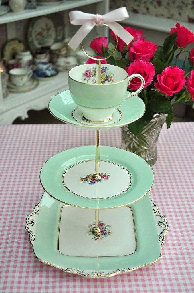 Pale Green Paragon China Tiered Vintage Cake Stand Flickr