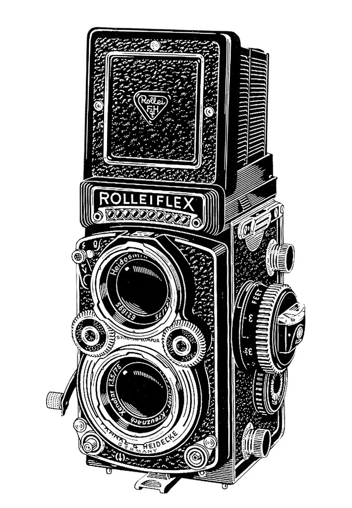 rolleiflex 35f camera ad line art 1960 a detail from