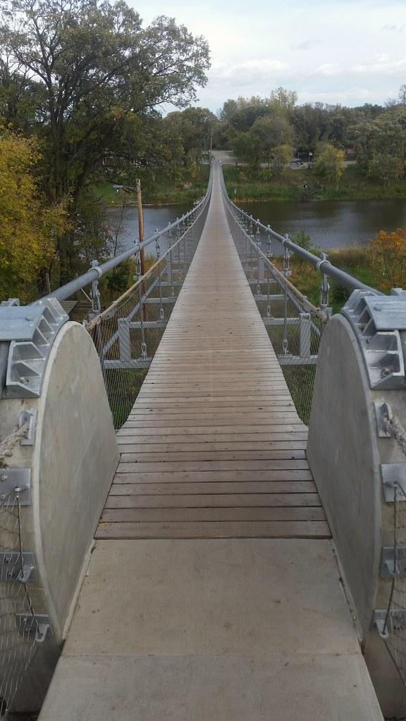 Swinging bridge in souris manitoba construction