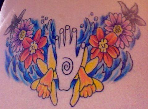 Laura 39 s healing hand with birth flowers tattoo my lower for Healing hand tattoo