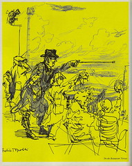 """""""On the restaurant terrace"""" - illustration by Felix Topolski from """"London Airport, Official Guide, 1956"""""""