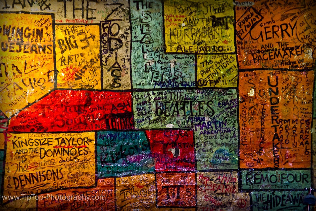 The cavern club main stage this mural is painted as the for A mural is painted on a
