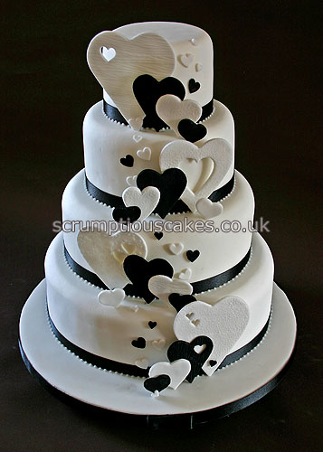 Wedding Cake 695 Black Amp White Hearts A 4 6 8 Amp 10