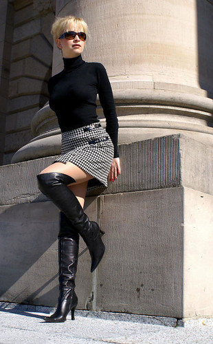 turtleneck mini skirt and leather boots flickr photo