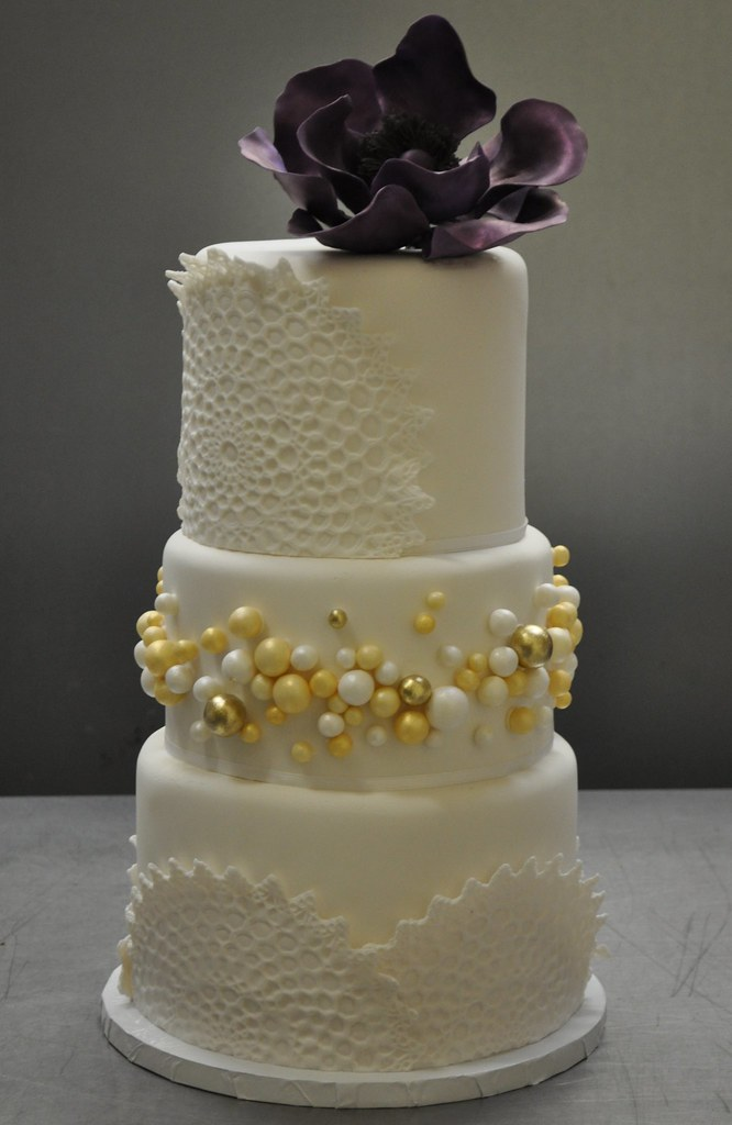 Tiered Cake In White Gold And Purple This Cake Was The