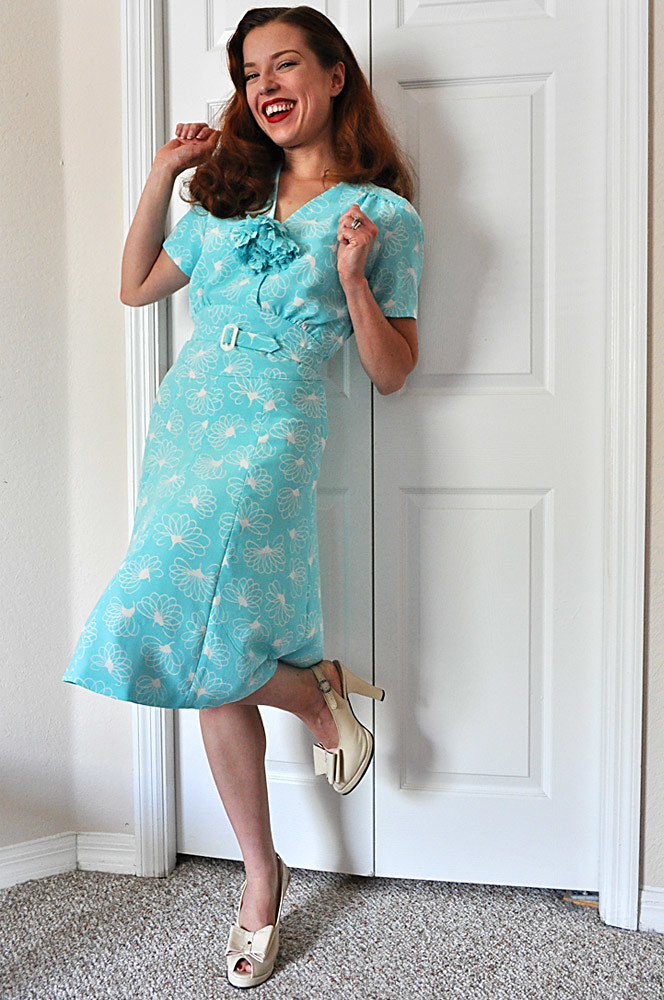 Mint Dress With Red Converse Shoes