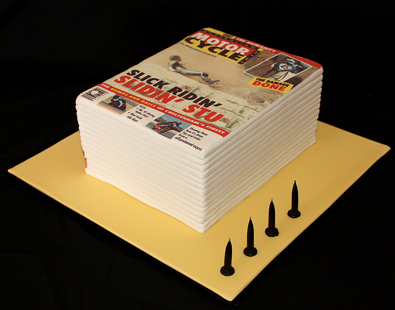 Motorbike Magazine Stack Birthday Cake Birthday Cake For