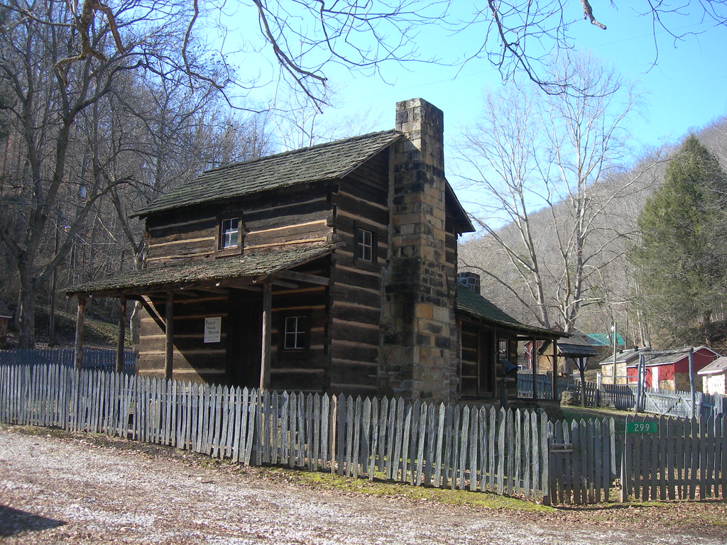 Pre log cabin located now on the campus of red