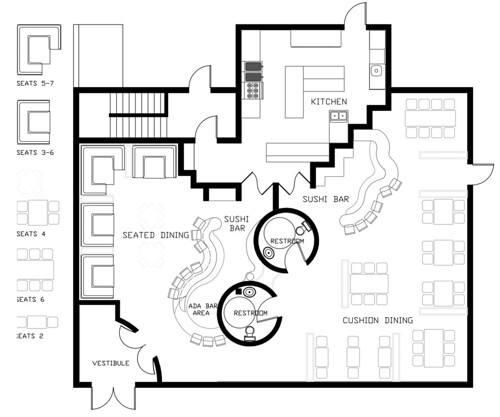 Floor plan of uo sushi bar jonathan sondergeld flickr Bar floor plans designs for free