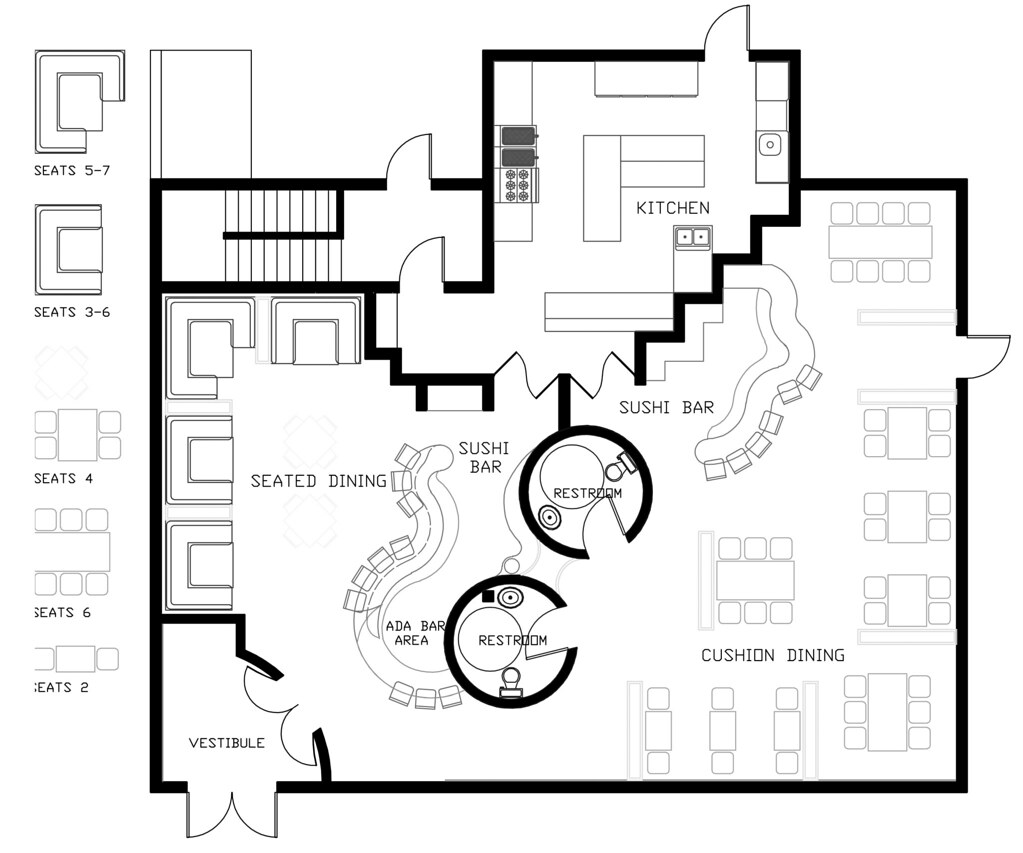 Floor plan of uo sushi bar jonathan sondergeld flickr for Nightclub floor plans