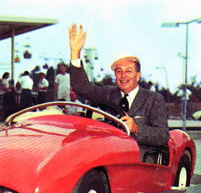 Walt Disney Driving A Car In Autopia 1960 From Walt