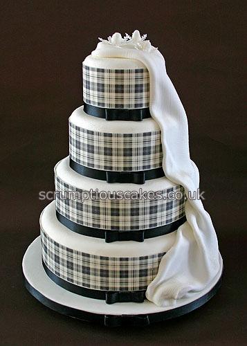 Wedding Cake 699 Black Amp White Edible Tartan Collar