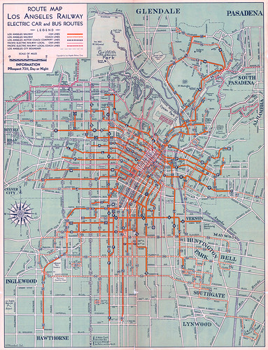 1934 los angeles railway electric car and bus route map | by gsjansen