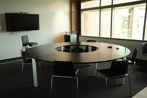 Round Table, chairs, TV monitor, conference room, 2nd floor, Studio C, Microsoft, Redmond, Washington, USA | by Wonderlane