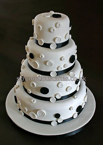 Wedding Cake 694 Black Amp White Buttons A 4 6 8