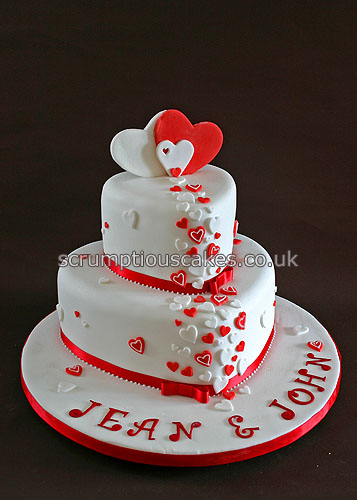 pics of wedding cake red and white wedding cake 689 amp white hearts paula 18344