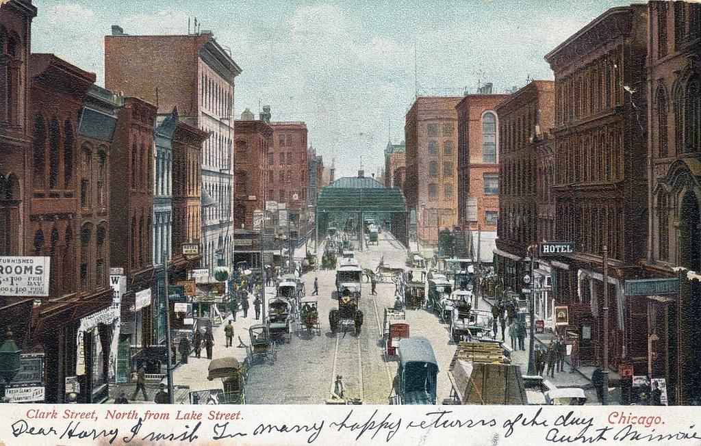Tarjeta postal Clark Street, Norte de Lake Street, Chicago Flickr-4310