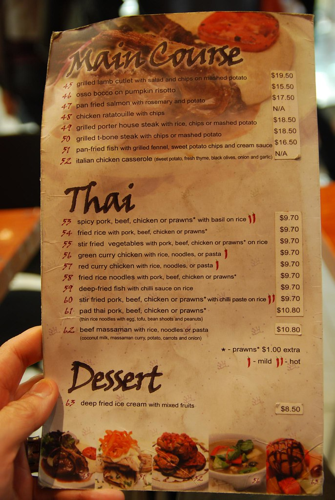 Main courses thai food dessert menu crown cafe bakery for Arawan thai cuisine menu