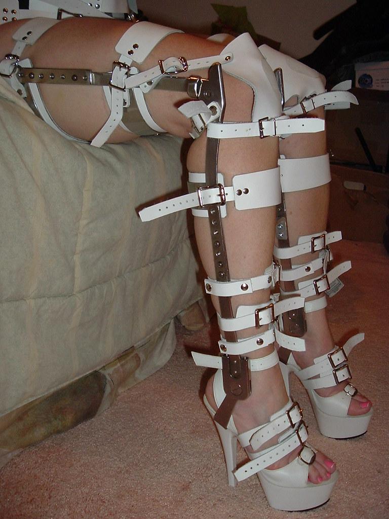 unlocked braces on beautiful legs in the sitting position