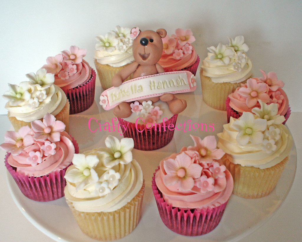 Cupcake Christening Design : Bear and blossoms Christening cupcakes Just a few of the ...