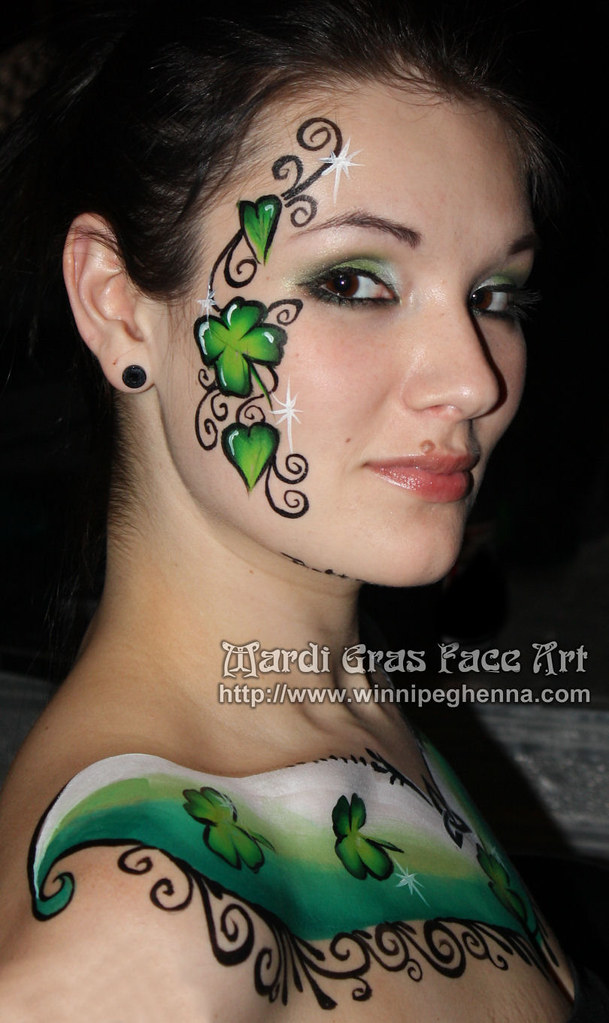 shamrock body paint tattoo mardi gras face art 204