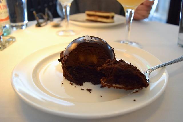 Salted Caramel Chocolate Bombe at Cafe Monico | www.rachelphipps.com @rachelphipps