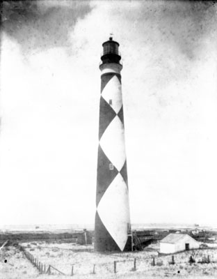 The Cape Lookout Lighthouse, circa 1900.