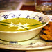 cream of broccoli soup with mussels