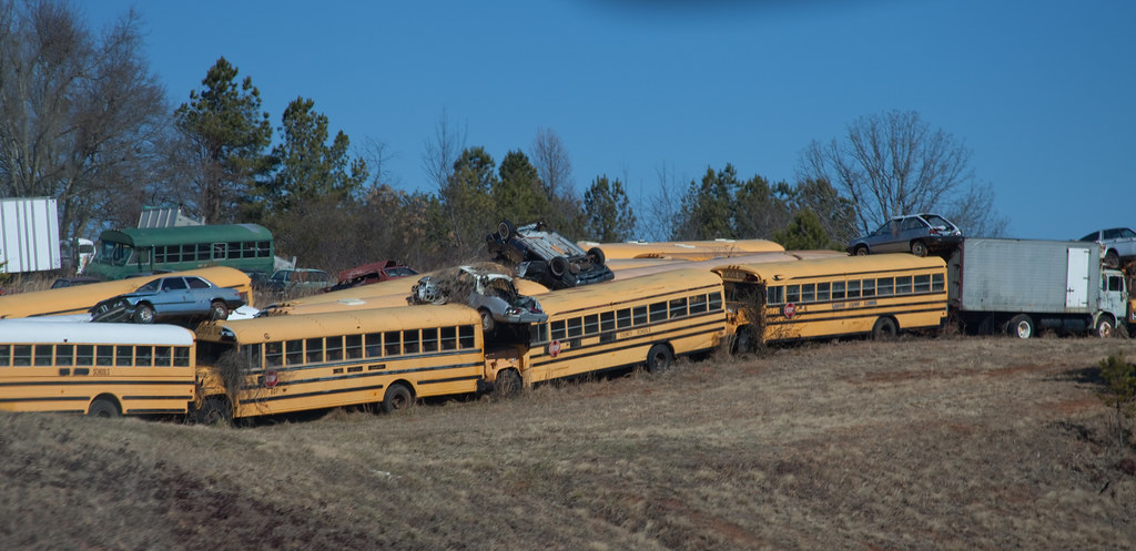 school bus junk yard  Near where we live is the only school…  Flickr