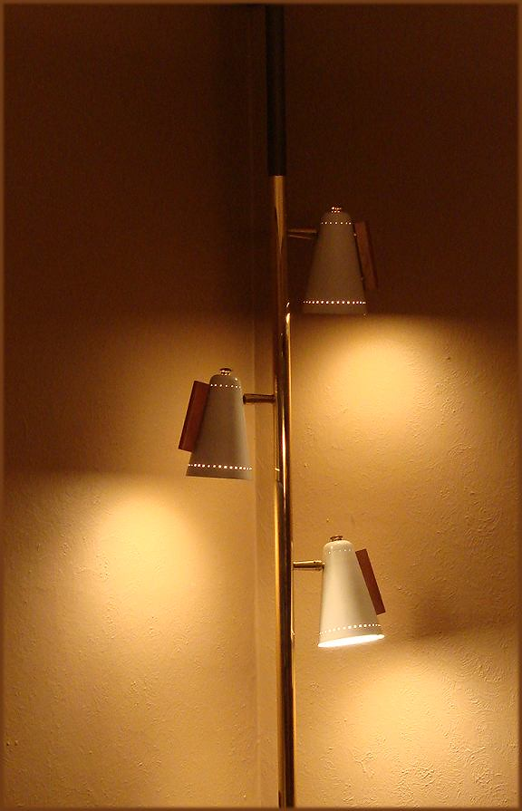 Mid Century Stiffel Tension Floor Pole Lamp Danish Modern