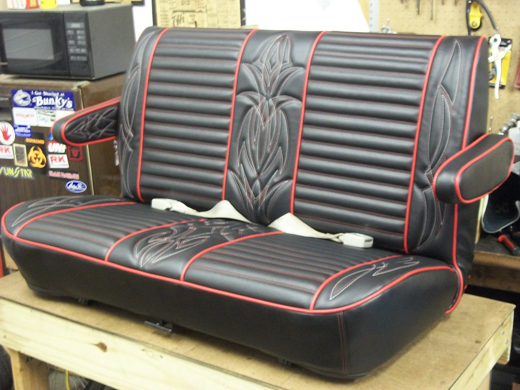 hot rod seat in black and red red and white pinstripe sti flickr. Black Bedroom Furniture Sets. Home Design Ideas