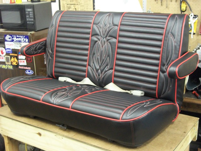 Hot Rod Seat In Black And Red White Pinstripe
