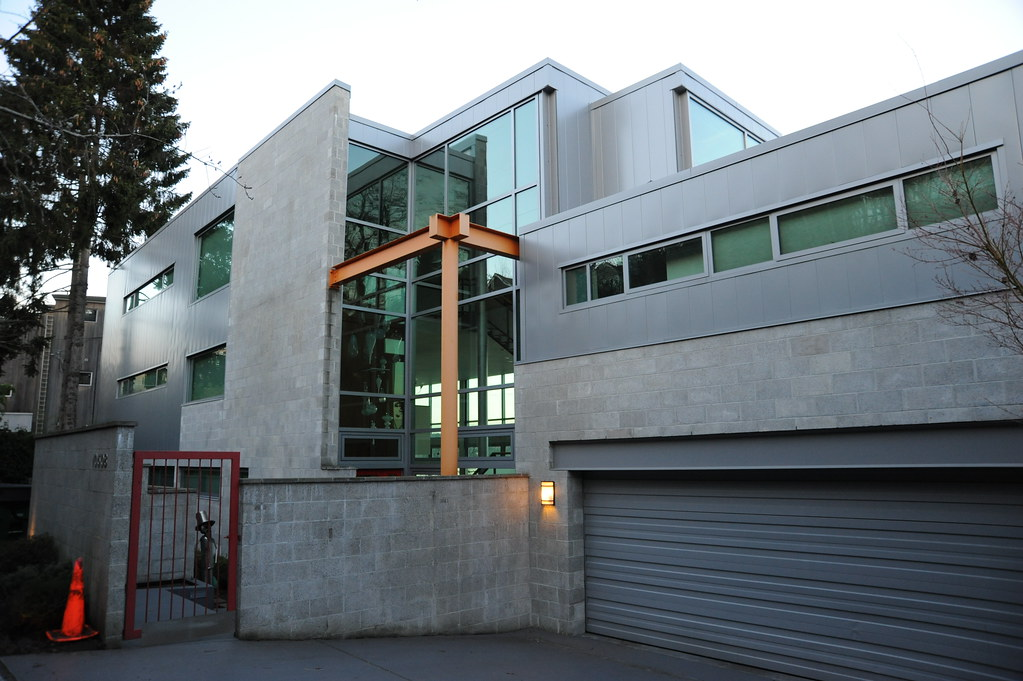 Large Contemporary Concrete Block Glass And Steel House